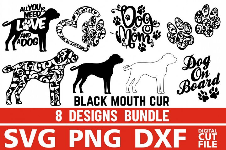 8x Black Mouth Cur Bundle svg ,Dog Shapes svg, Silhouettes