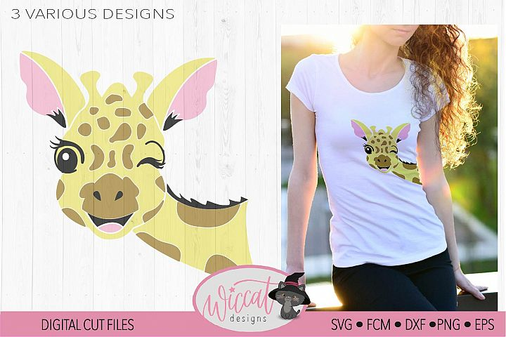 Winking Giraffe face svg, summer design