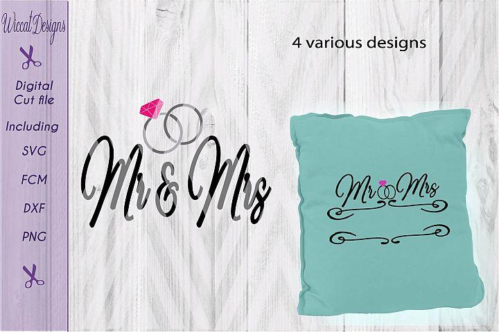 Mr & mrs svg, Wedding Rings svg, Wedding banner, split banner svg,  dxf cut file