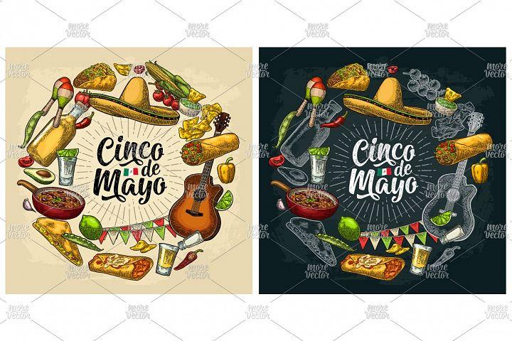 Circle shape set mexican food engraving. Cinco de Mayo