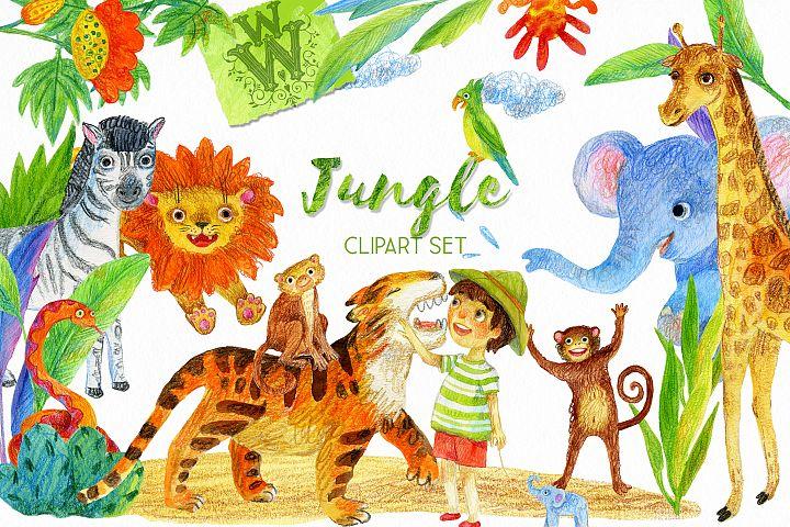 Jungle animal clipart, safari zoo clip art, lion, tiger, kid