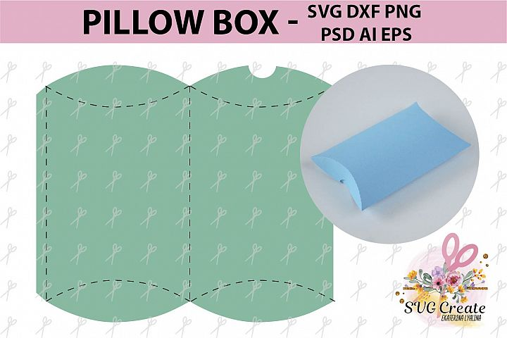 Pillow box template gift favor papercut diy paper print