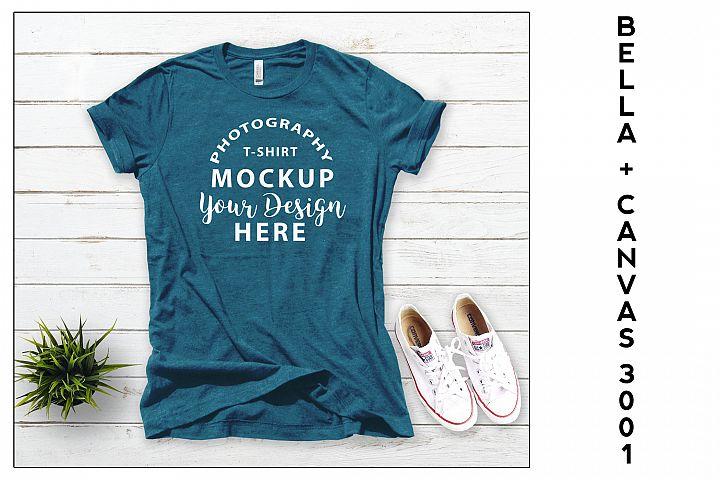 Bella Canvas 3001 T-shirt mock-up, color Heather Deep Teal
