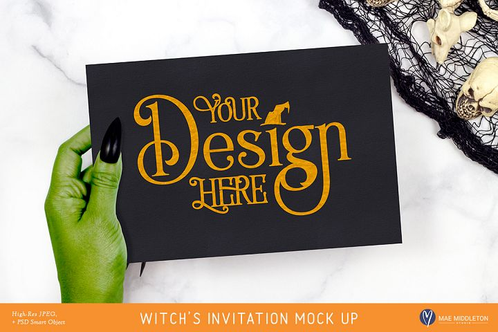 Halloween Mock up - Witchs Invitation