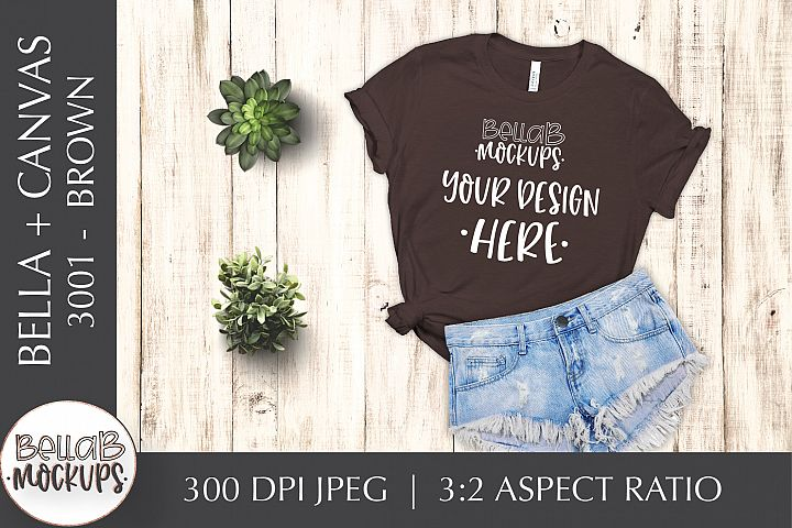 Bella Canvas 3001 Womans T Shirt Mockup, Brown, Flat lay