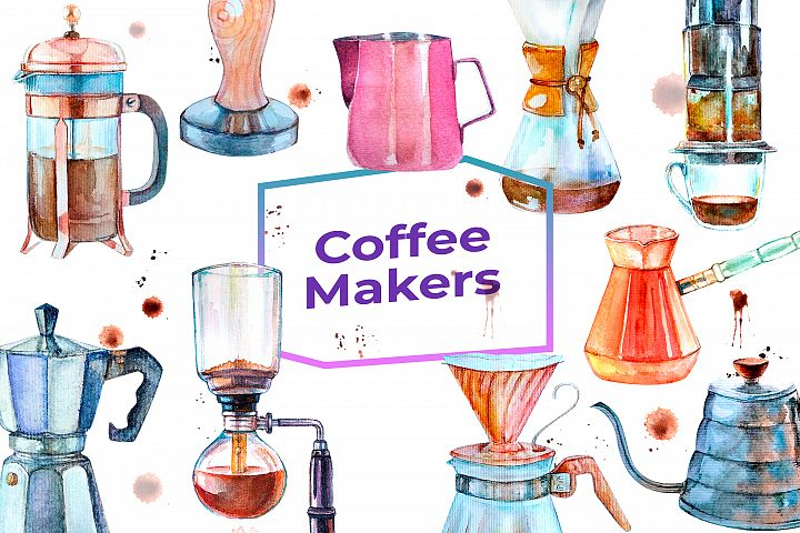 Watercolor cliparts Coffee Makers