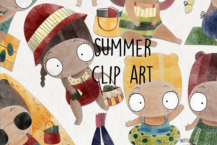 Watercolor Summer clipart. Girl clip art.