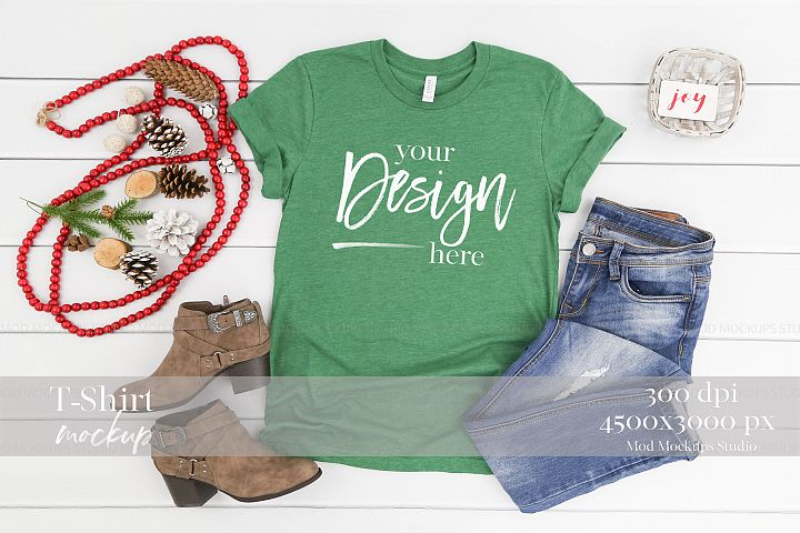 Holiday Mockup HEATHER GRASS GREEN| 3001 Bella Canvas Mockup