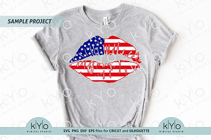 4th of July American Flag Lips Shirt Design SVG files