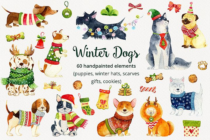 Winter Dogs Collection. Christmas puppies.