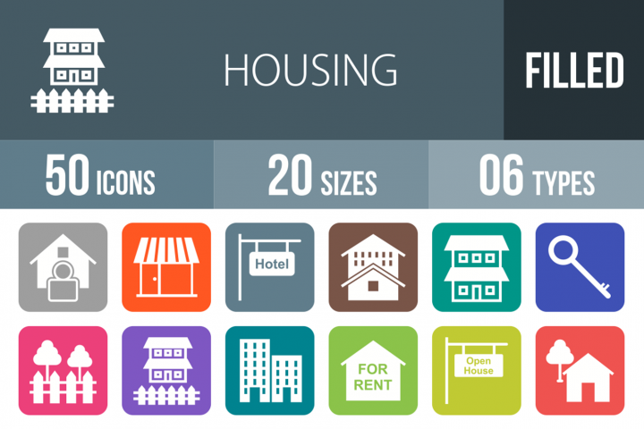 50 Housing Filled Round Corner Icons