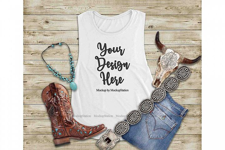 Southwest White Tank Top Mock Up, Texas Bella Canvas 8803