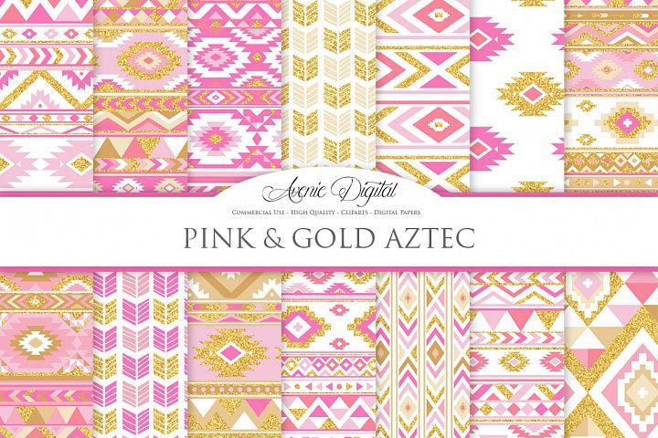 Pink and Gold Glitter Boho Seamless Patterns