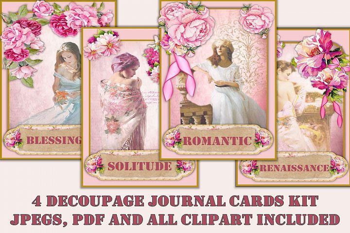 Shabby Chic Decoupage Cards & clipart Bundle JPEG, PDF & PNG