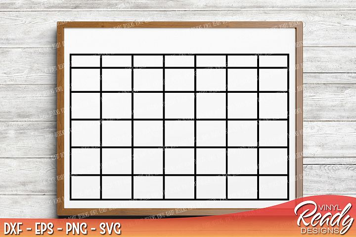 Monthly Calendar Blank Template - Vector Clip Art - Cutting Files - DXF EPS PNG SVG