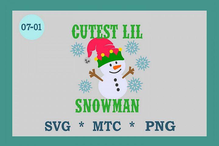 Cutest Lil Snowman with Hat Design #7-01 Winter SVG Cut File