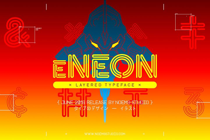 eNeon Layered Font