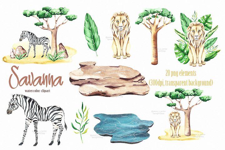 Savanna animal & Tropical clipart example 4