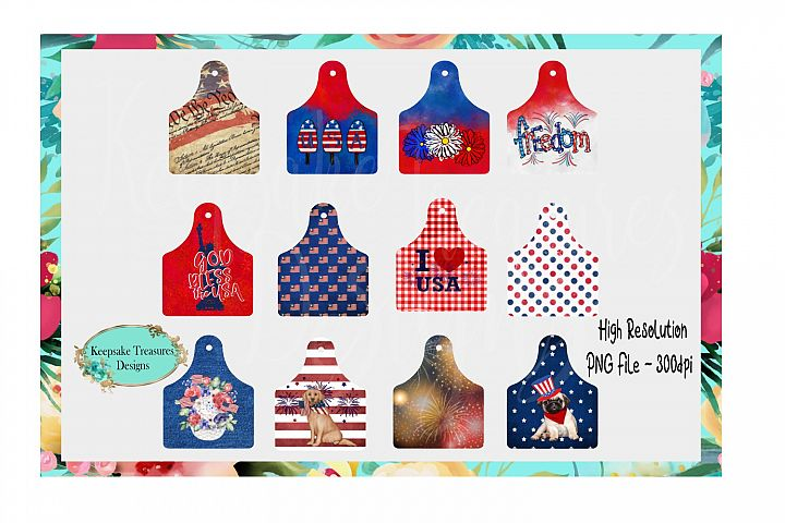 4th of July Cow Tag Design Bundle