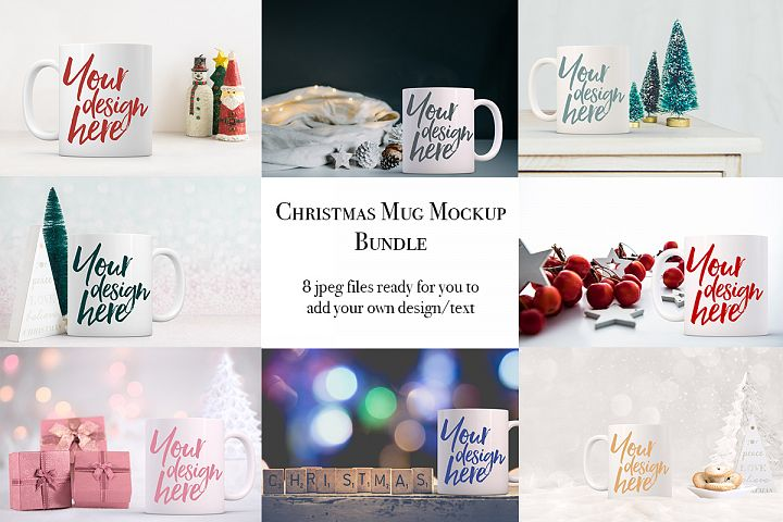 Christmas mug mock-up bundle - 8 jpeg mockups