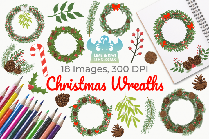 Christmas Wreaths Clipart, Instant Download Vector Art