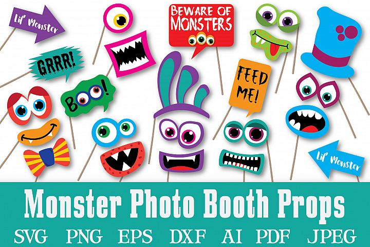 22201f9d23d3 Monster Photo Booth Props - SVG Cut File and Clipart- PNG