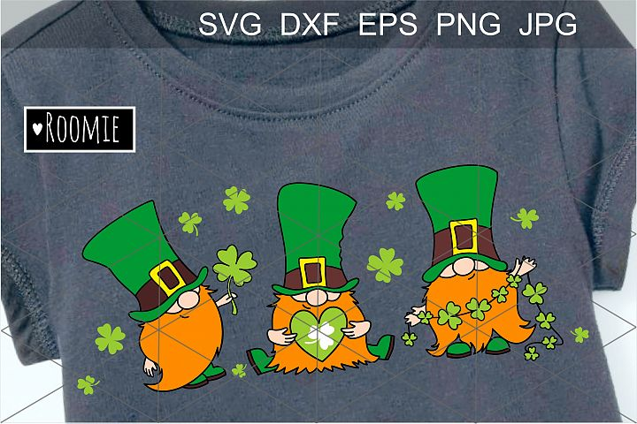 St. Patricks Day Irish gnomes with clover for good luck SVG