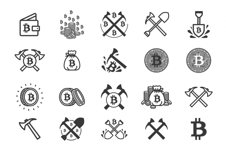 Set of 20 bitcoin mining icons.