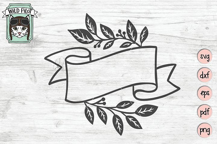 Ribbon Banner SVG file, Leaf Border cut file