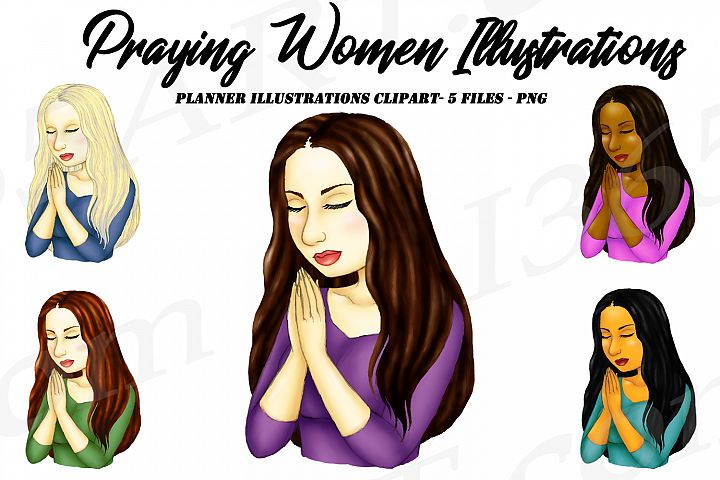 Praying Woman Religious Planner Illustrations Clipart