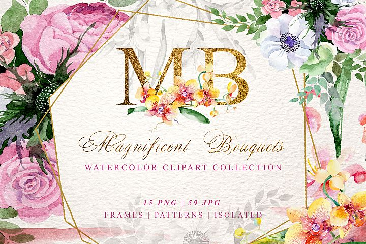 Magnificent Bouquets watercolor PNG