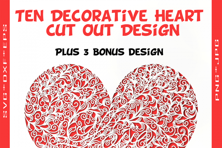 Ten Decorative Heart Cut Out Design 1