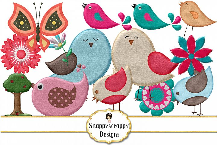 Cute Felt Bird Mix Clipart