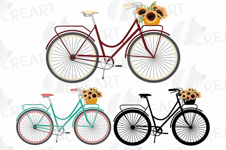 Sunflower bouquets bicycles clip art. Floral bikes decor png