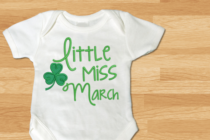 Little Miss March Clover Applique Embroidery Design