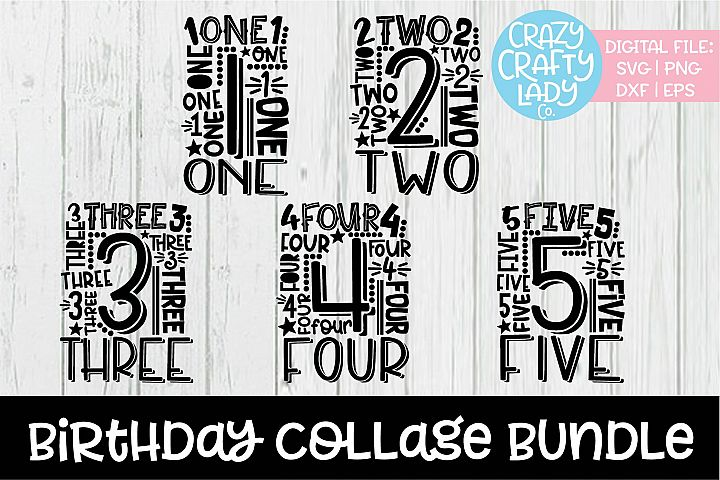 Birthday Collage Typography SVG DXF EPS PNG Cut File Bundle