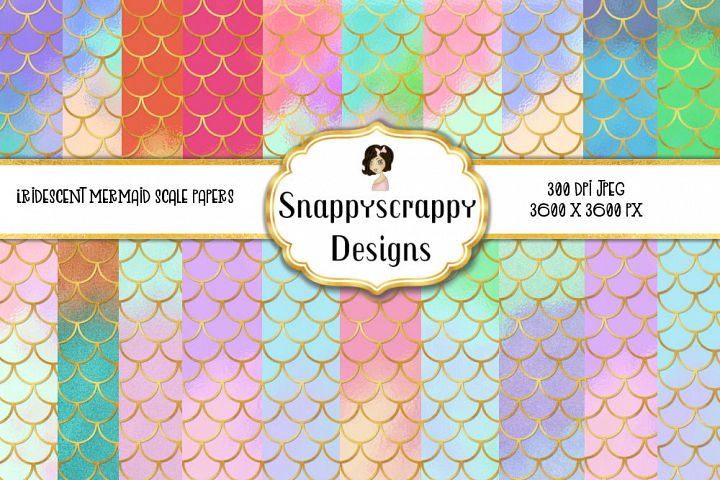 Iridescent Mermaid Scales Background Papers Set 2