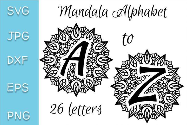 Mandala alphabet SVG, JPG, DXF, EPS, PNG letters set.