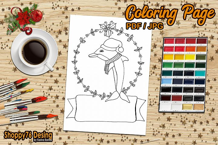 Christmas dolphin / coloring page