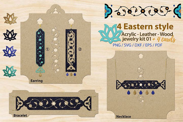 Eastern style acrylic leather wood jewelry kit 01