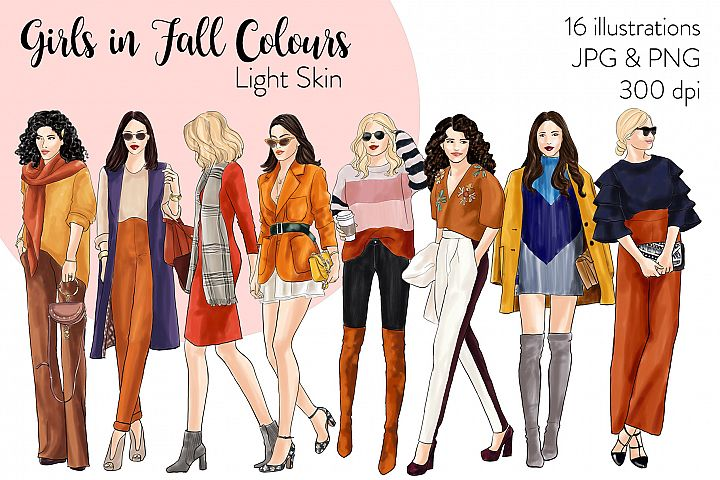 Fashion clipart - Girls in Fall Colours - Light Skin