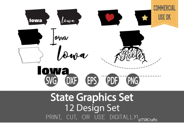 Iowa State Graphics Set - Clip Art and Digital Cut files