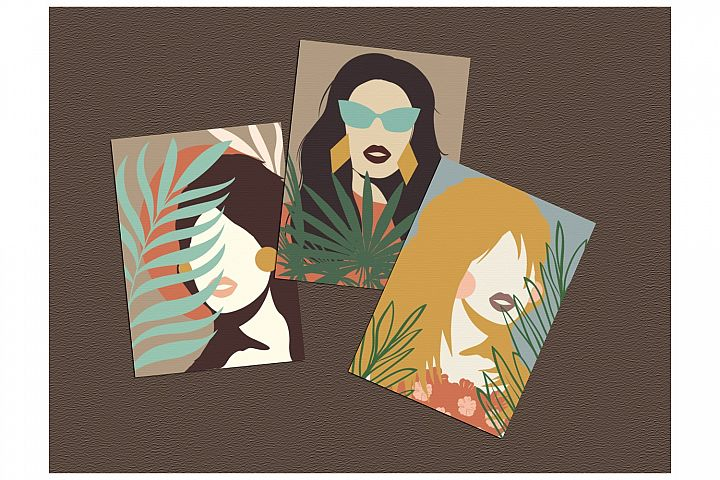 Female Portraits Cards Set - Abstract Art