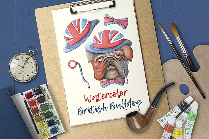 Watercolor British Bulldog