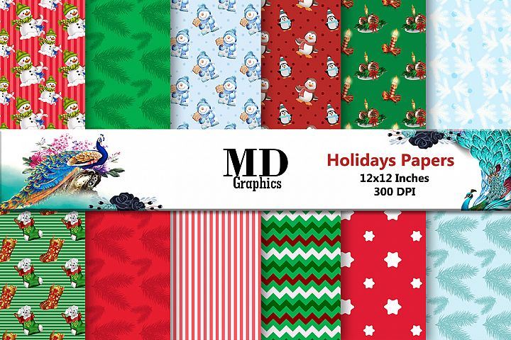 Christmas Paper, Holidays Paper, Digital Scrapbooking Papers