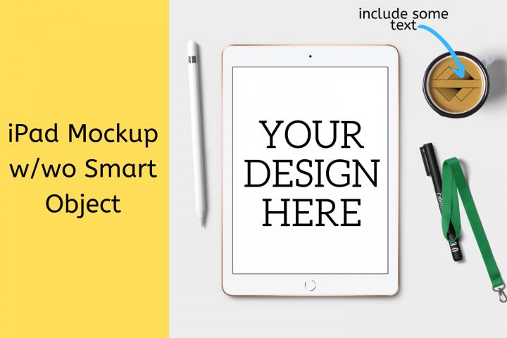 iPad Mock-up w/wo Smart Object - 2160x2160px