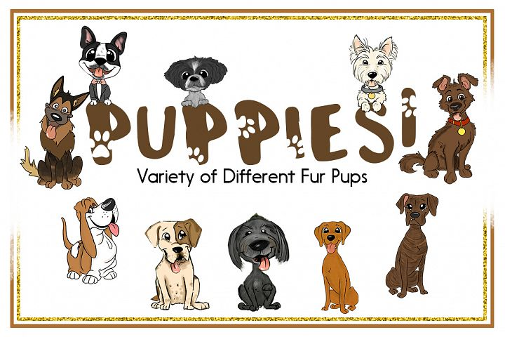 Animal Clipart-Dog Clipart-Puppy Clipart-Cartoon-Sticker Clipart-Digital-German Shepard-Dog Art-Digital Hound Dog-Boxer-Variety-Commercial