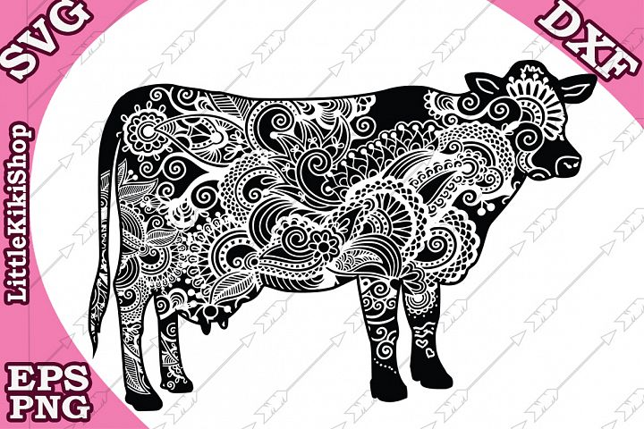 Zentangle Cow Svg ,mandala Cow Svg, Zentangle animal Svg