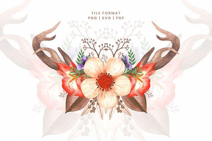 Watercolor floral bouquet with deer horn