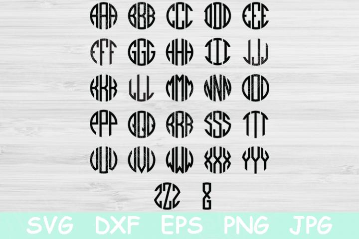 Circle Block Monogram Font Svg Round Alphabet Letters Cricut